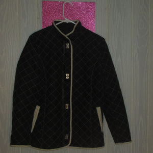 utex design quilted black silver lock button coat